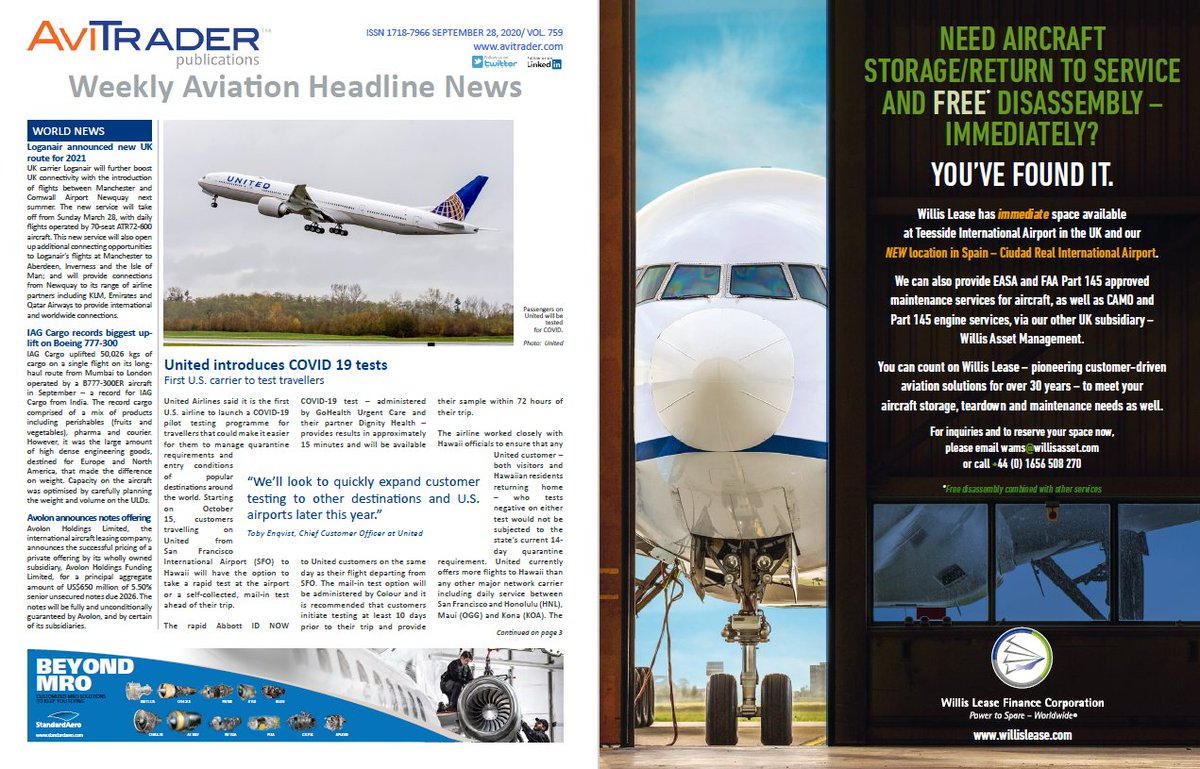 In this week's issue of @AviTraderNewswe're featuring our #aircraft storage facilities at @TeesAirport (UK) and Ciudad Real International Airport (Spain). READ MORE: https://t.co/3uLa1Jpcw4. https://t.co/QiPva5TaPA