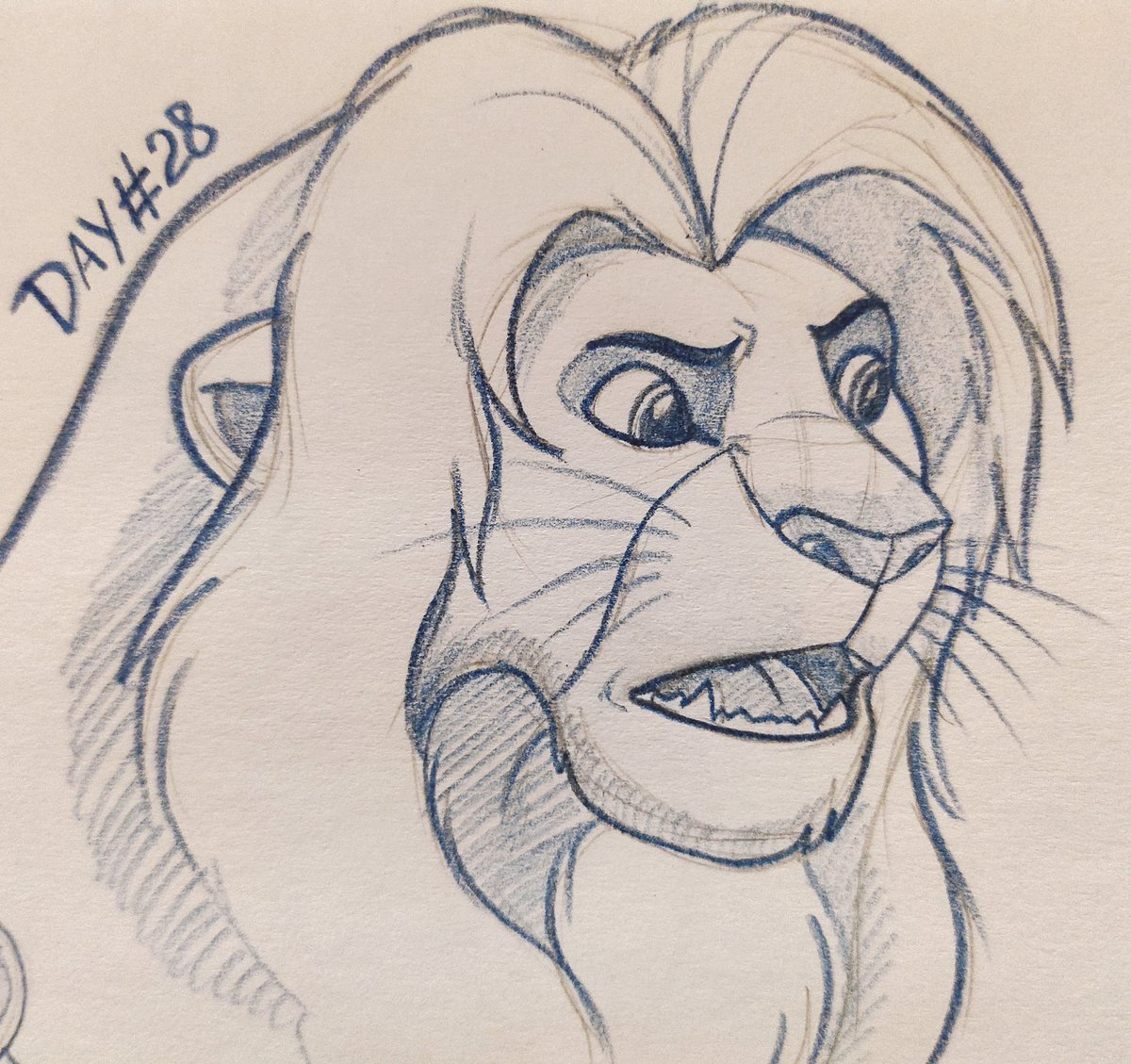 My challenge #Tlk_month close to end, wow I did 28 sketches in a row! It's first time when I keep doing sketches each day and don't give up on it ^^ #tlk #TheLionKing #sketch #headshot #lion #feline #animalartist #animalart https://t.co/KXdvM81FEc