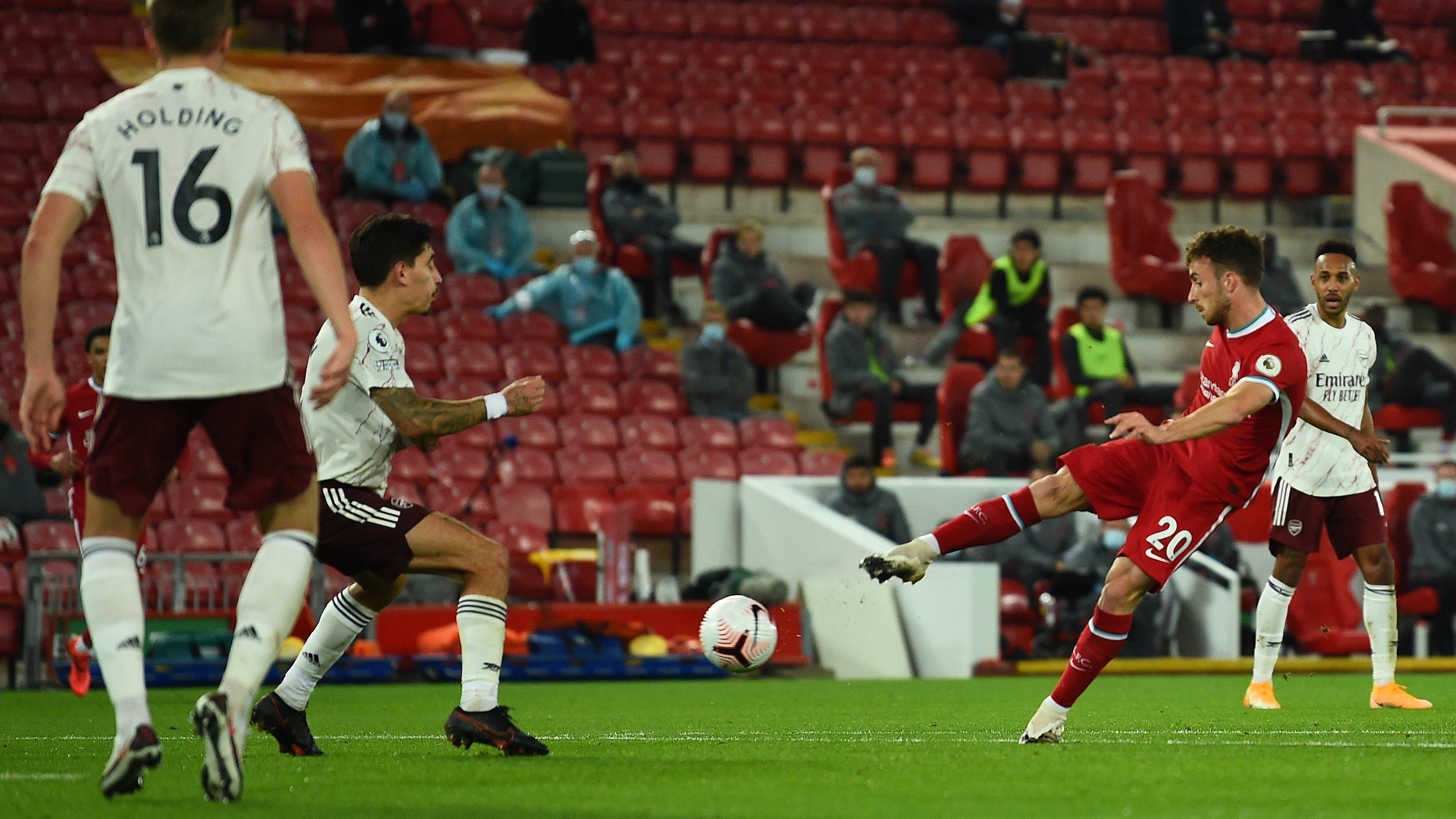 Diogo Jota ha segnato contro l'Arsenal la sua prima rete in Premier League con il Liverpool