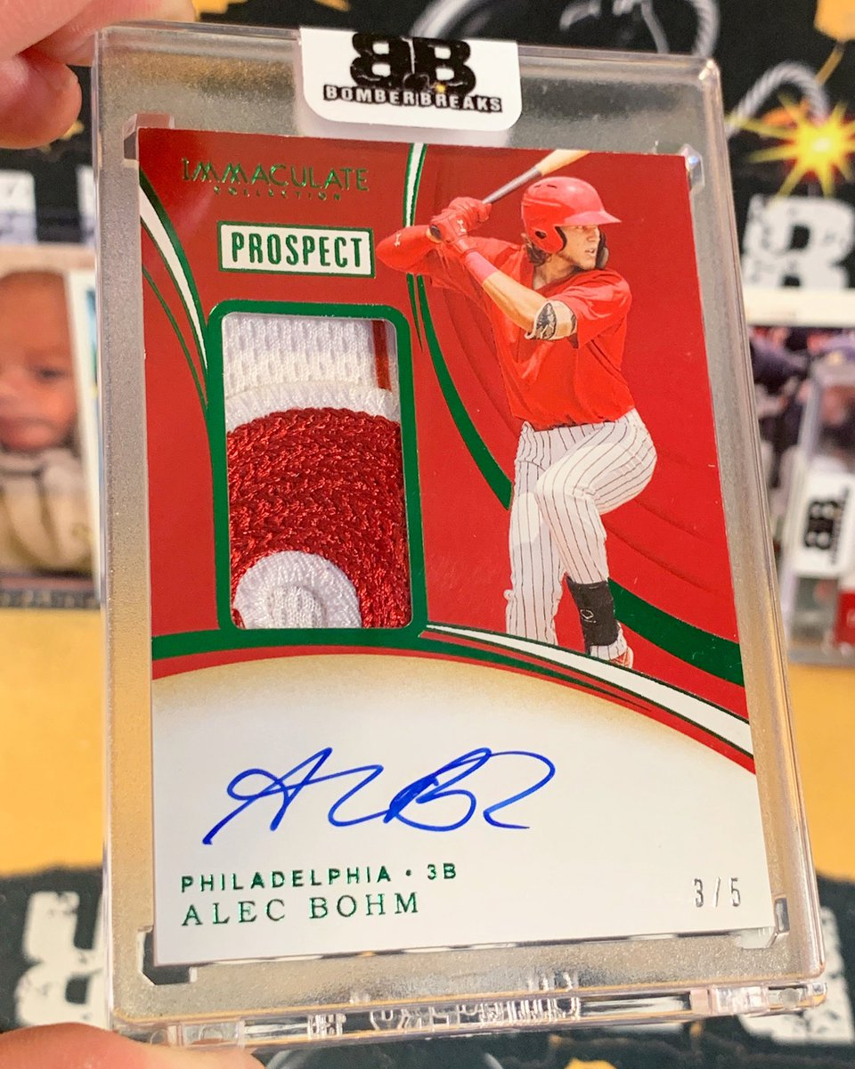 Alec Bohm /5 Rookie Patch Auto hitting last night in our @paniniamerica Immaculate Baseball breaks!  💣💥🔥 #boom #whodoyoucollect #rookie #prospect #phillies #philadelphia #baseball #autograph #immaculate #mlb #thehobby #groupbreaks https://t.co/rKHLLhjE65