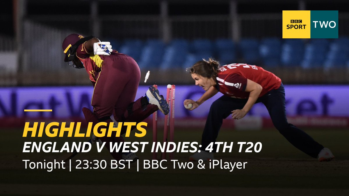 @bbctms Dont forget you can watch all the highlights of the fourth #ENGvWI T20 Tonight at 23:30 BST on @BBCTwo or later on @bbciplayer 👉 bbc.in/2GhwnJu #bbccricket #WomensCricketMonth
