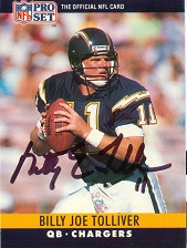Billy Joe Tolliver (QB played for five teams from 1989-99, including the San Diego Chargers. He signed in 1,096 days #ttm #autograph https://t.co/E2wGPWJFcE