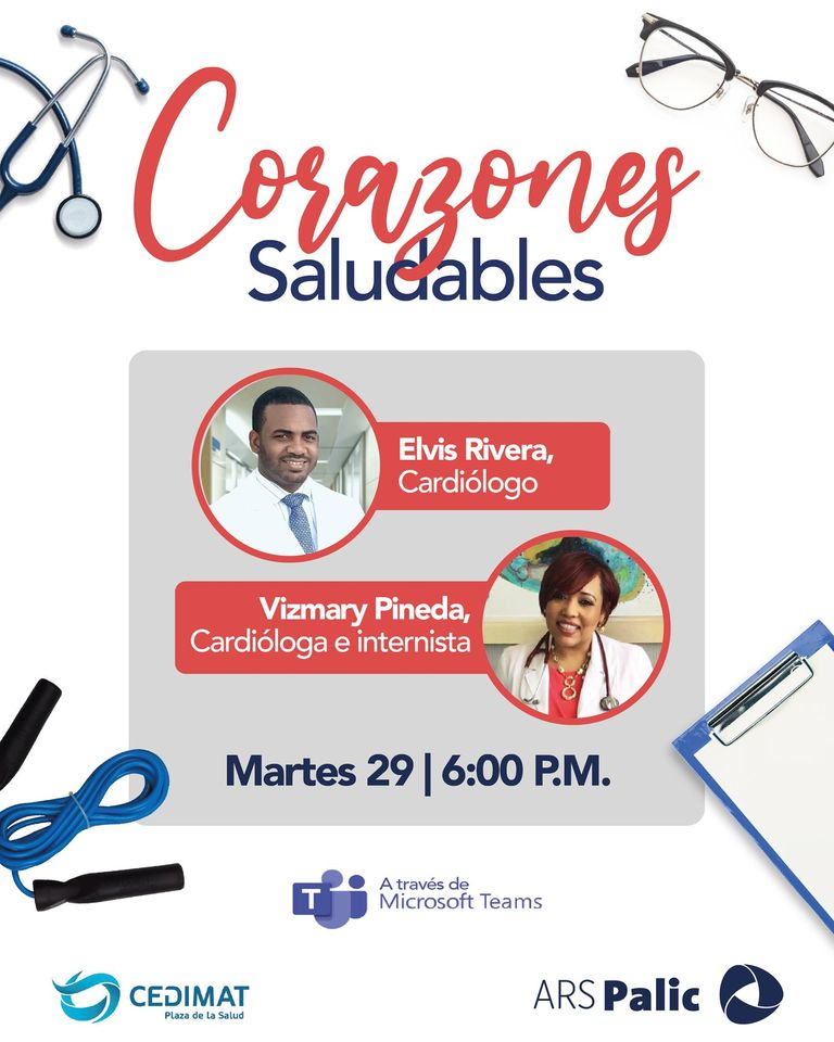 Le invitamos al webinar ''Corazones Saludables'' mañana martes 29 de septiembre, junto a ARS Palic a las 6:00PM  Para registrarse ingrese al siguiente enlace https://t.co/CUwqPtEOvm  ¡Le esperamos!  #CEDIMAT #salud #Cardiovascular #ARSPalic #CuidaTuSalud #CorazonesSaludables https://t.co/tL7tYv9evr