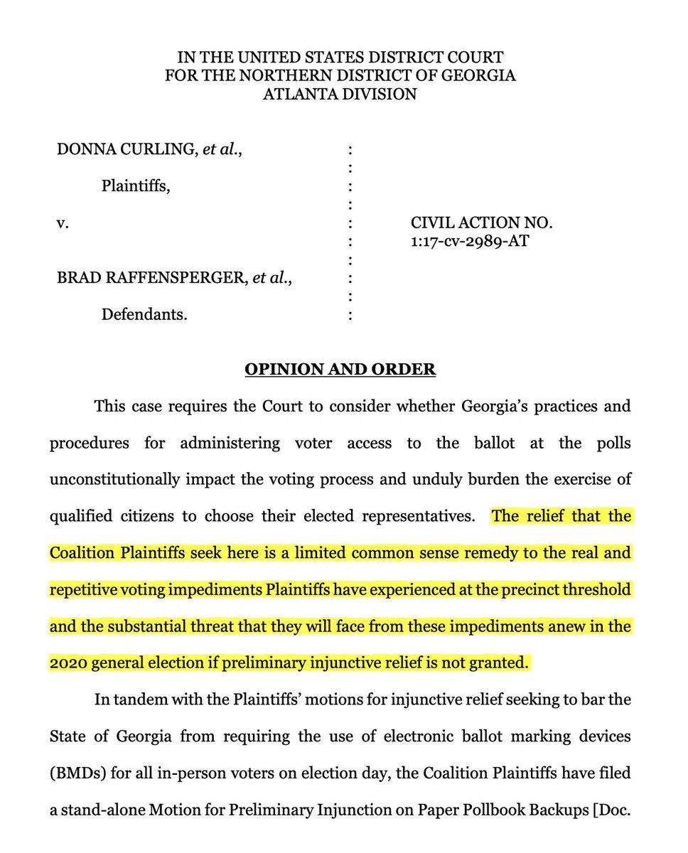 """🚨BREAKING: Georgia federal court rules GA Secretary of state """"to require the use of a paper backup of the electronic pollbook to prevent voter disenfranchisement.""""   Congrats to the Coalition for Good Governance on their victory. https://t.co/fw05j7Cy7M"""