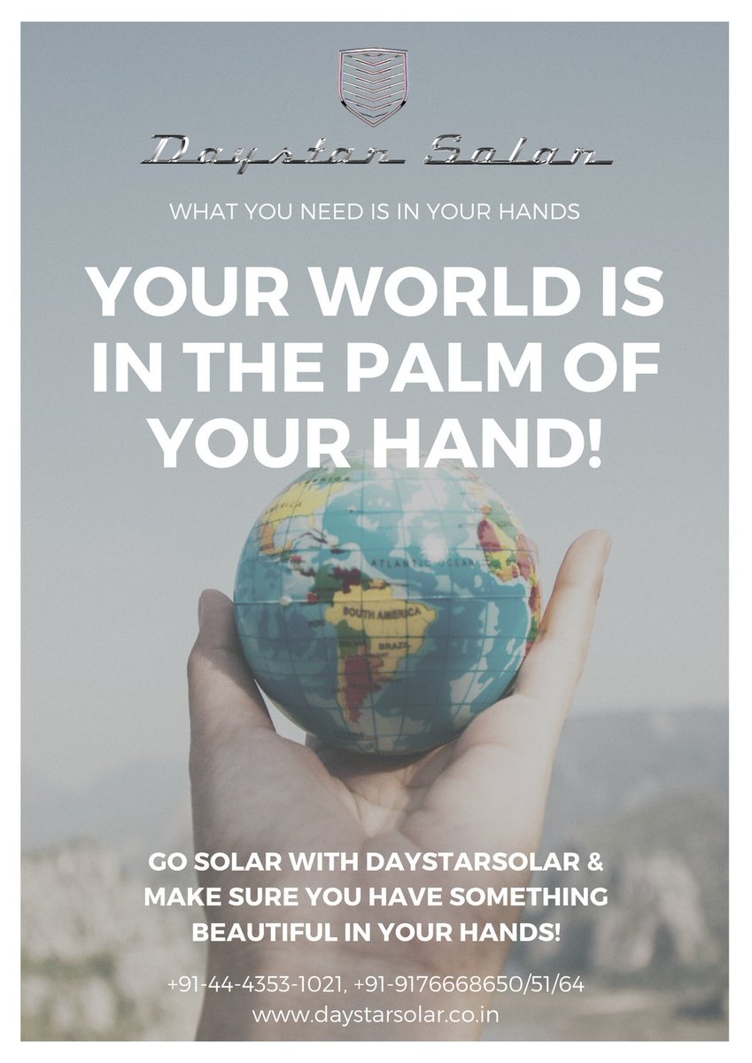 Make your world #beautiful with Eco-friendly Solar plants from #DaystarSolar! If the world is in your hands, make sure its a beautiful one! +91-44-4353-1021, +91-9176668650/51/64  #solar #solarpower #solarenergy #greenenergy #solarpanels #rooftopsolar  #world #beautifulworld https://t.co/RV1gjyM79C