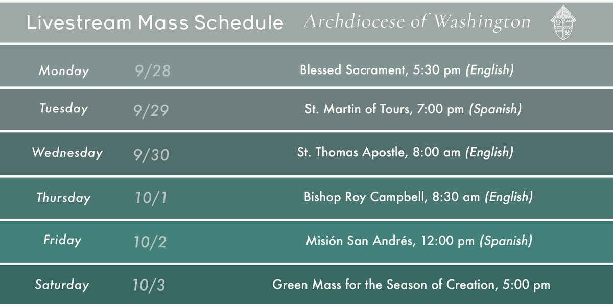 Still not comfortable going to in-person Mass? Each week we share live-streamed Masses from parishes in the #WashArchdiocese to our Facebook page. Join us! https://t.co/cSlElwLhc8 https://t.co/AG8WcAahaT