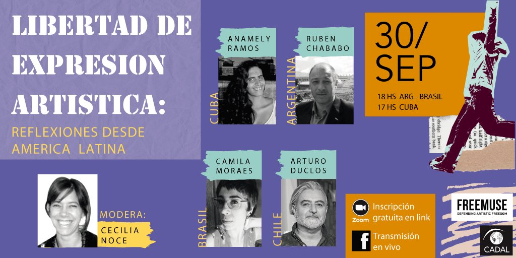 "What is the situation of #freedomofartisticexpression in the world and in #LatinAmerica? The webinar ""Artistic Expression Freedom: reflections from Latin America"" today at 6pm (Argentina and Brazil) and 5pm (Cuba) organised by Freemuse and @CADAL. https://t.co/jQGfQRV2h0"