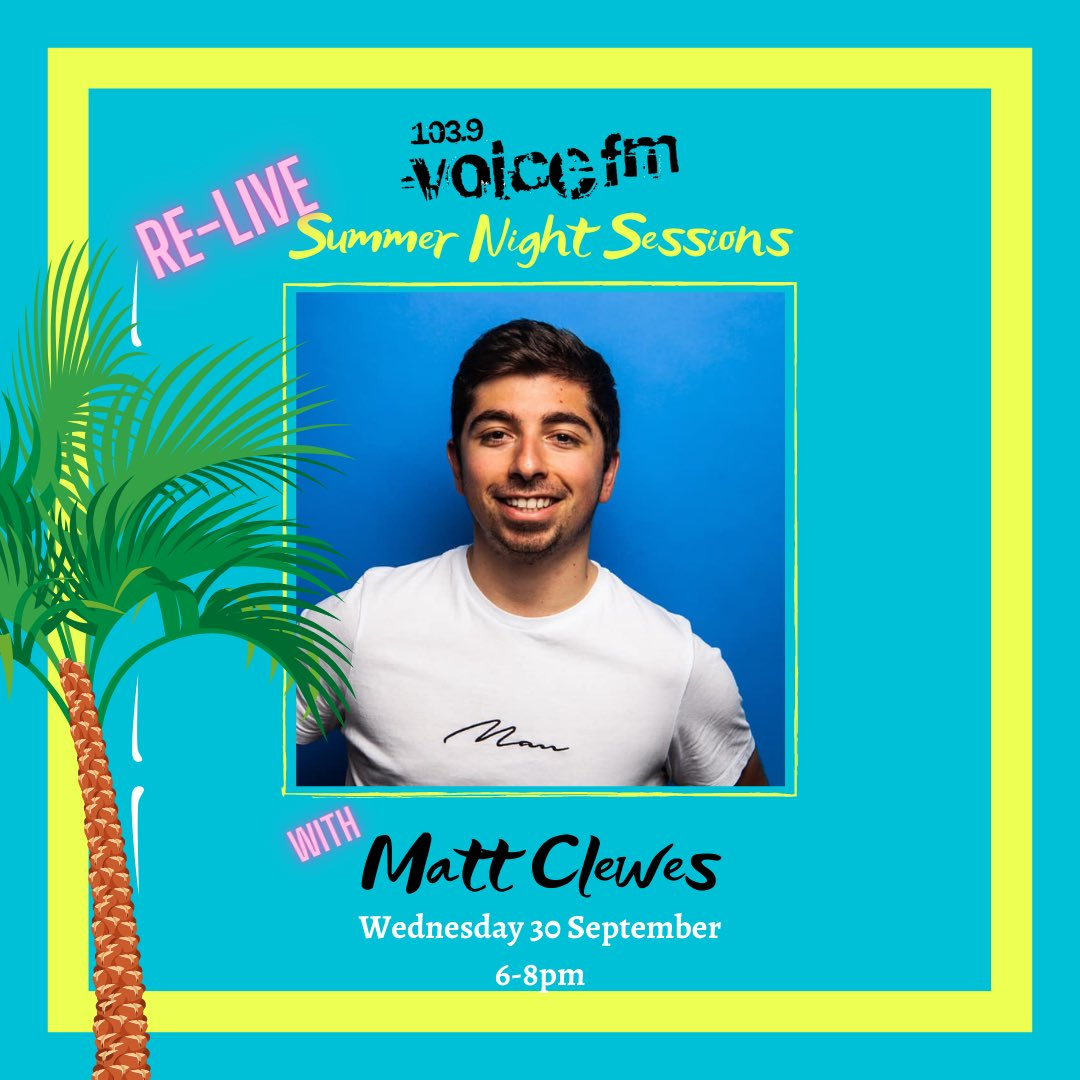 ☀️ @clewes_matt is taking you back to the Summer on Wednesday night as we ReLive #VoiceSNS2020!  Two hours including some Highlights from our month of Live Music on our Facebook page from June and July!  Join in from 6-8pm 🎉🏝 https://t.co/jx3yK4gHdk