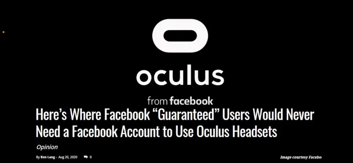 @Facebook Lied and on top of that you're required to use your REAL NAME to play the oculus?! You shouldn't have to be forced to use your real name in order to simply play Vr. Please change that. There's literally no reason for it