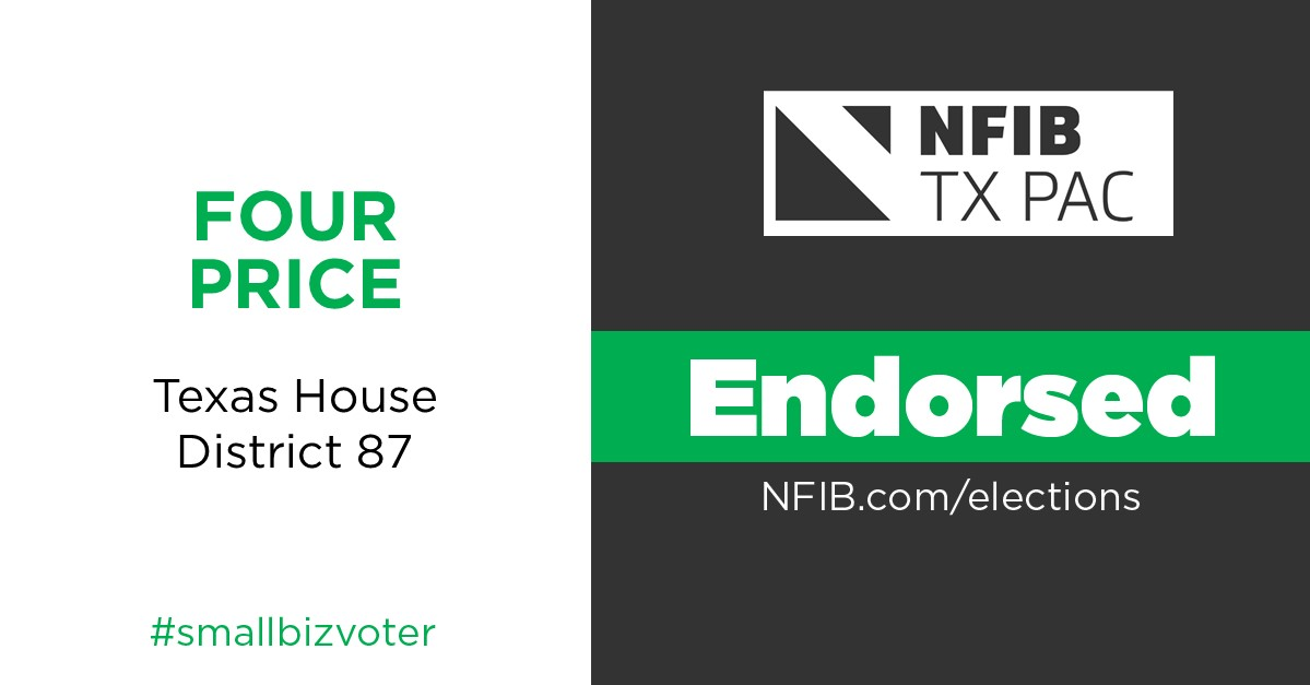 NFIB is the voice of small business.  Thank you for your endorsement & support @nfib_tx!