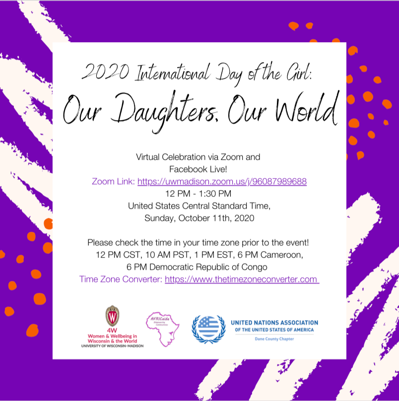 The 4w Initiative On Twitter Join The 4w Initiative Africaide And The United Nations Association Of The United States Of America Dane County Chapter For A Virtual Celebration Of The 2020 International