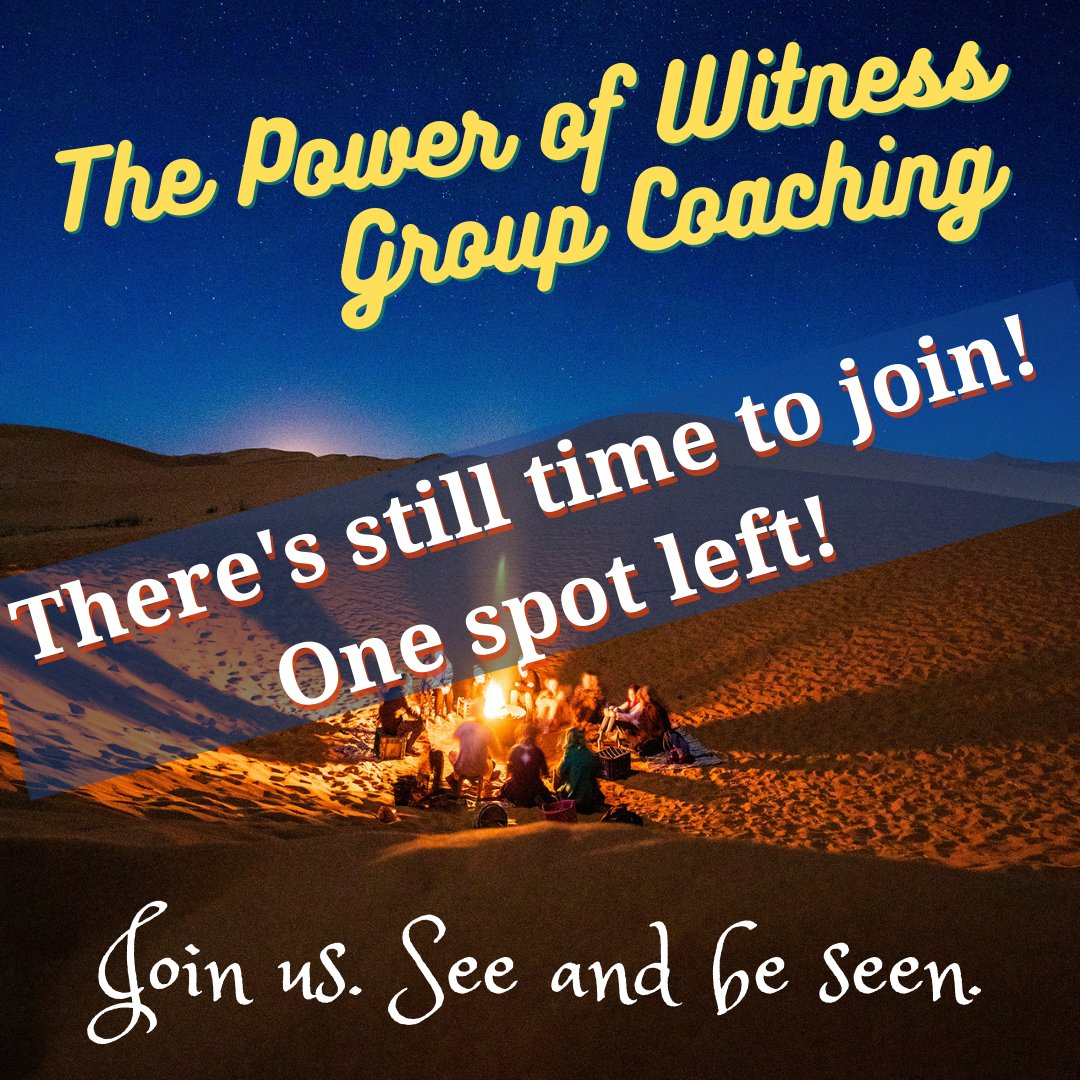 I have one spot left for my Power of Witness Group Coaching course and it's not too late to join!   More info: https://t.co/TnKjDOabhd  Sign up by Tuesday (9/29) at midnight. The course starts Wednesday evening (9/30)!  #groupcoaching #relationshipcoaching https://t.co/C7bo5J8q5p