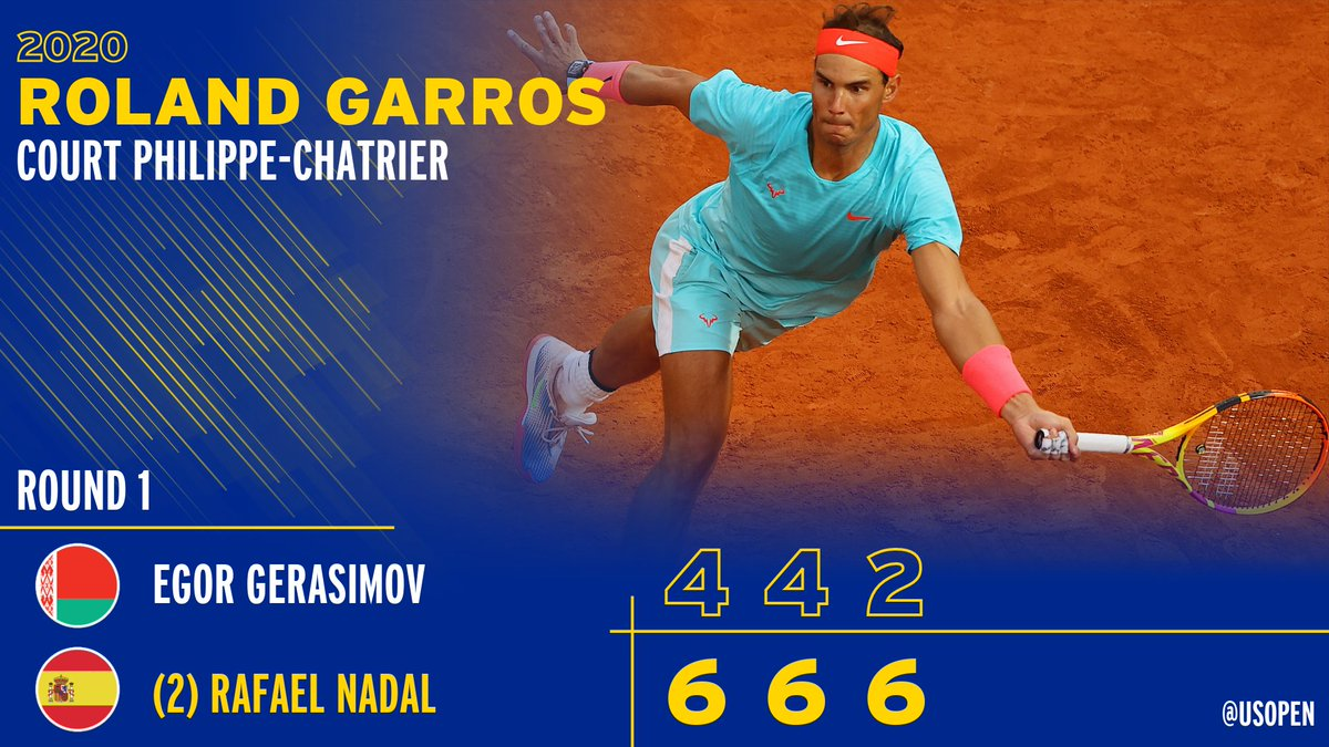 The King is back in Paris 👑  @RafaelNadal moves past Gerasimov in straight-sets to reach Round 2.  #RolandGarros https://t.co/GDdbRbCdlq