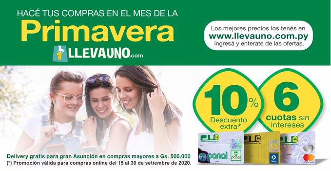 Con tus Tarjetas de Crédito CU tenés beneficios en LlevaUno 👌  10% de descuento extra y hasta 6 cuotas sin intereses 💳✅  *Promoción valida para compras oline del 15 al 30 de setiembre de 2020 https://t.co/gA9TUzFHoU