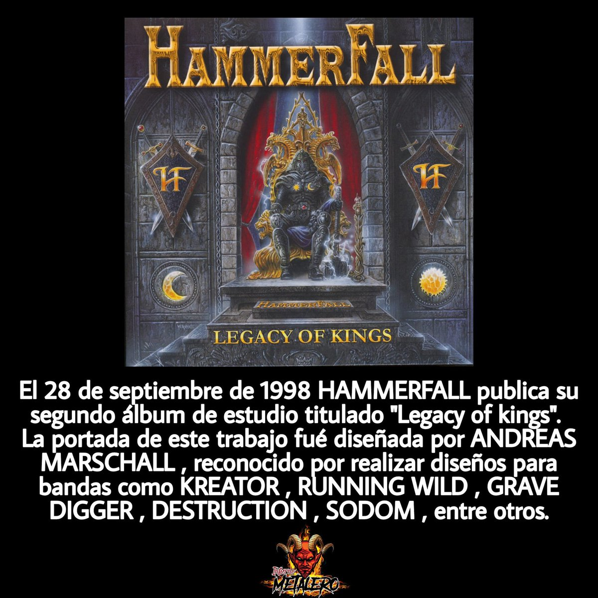 #SabíasQué #28Sep #hammerfall #legacyofkings #andreasmarchall #🤘 #infiernometalerofficial #rock #alterno #metalheads #metal https://t.co/1gBYeZVX4S