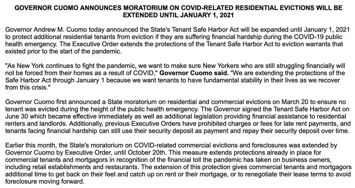 "NEW: New York Gov. Andrew Cuomo extends moratorium on ""COVID-related residential evictions"" until January 1, 2021. https://t.co/xPUmsKezr6 https://t.co/yf4zOkYiDZ"