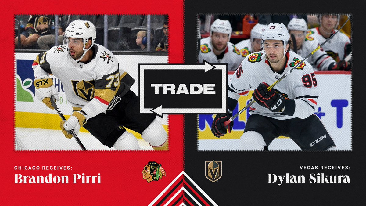 Hello old friend!   The #Blackhawks have acquired forward Brandon Pirri from the Golden Knights in exchange for forward Dylan Sikura. https://t.co/btKUuiLwtw