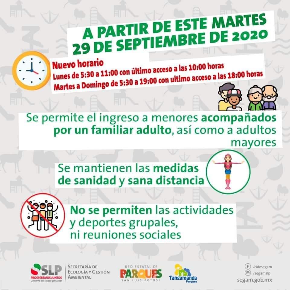 Anuncian reapertura de los parques Tangamanga I y II a partir de este martes 29 de septiembre, con algunas restricciones. #SLP #SanLuisPotosí @PTangamanga @GobEdoSLP @ssaslp https://t.co/0cRopzz6x3