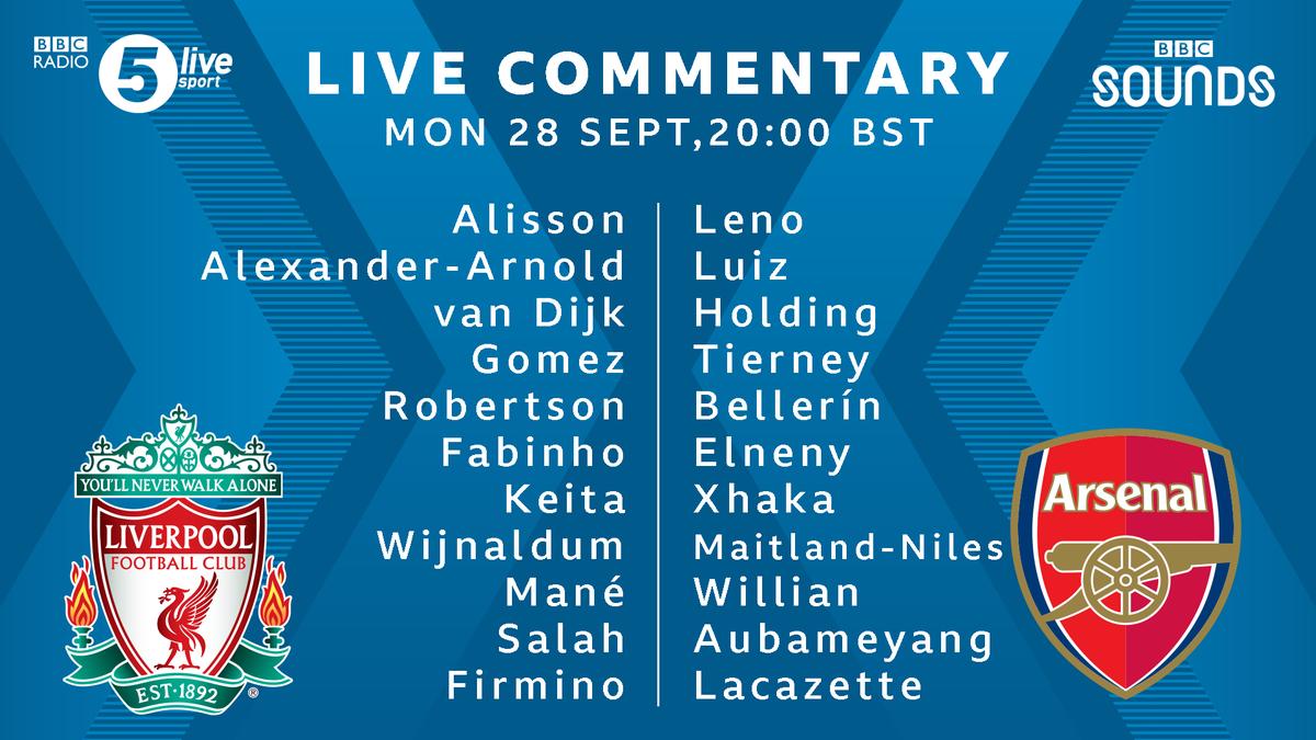 📝 #LIVARS team news  Despite fears he'd be out, Alisson starts for #LFC  Thiago doesn't make the squad.  David Luiz returns for Arsenal. Ceballos, Kolasinac and Saka drop to the bench.  📲⚽ https://t.co/5Du5Yilmm1 #bbcfootball https://t.co/HLvDCB3ZCc