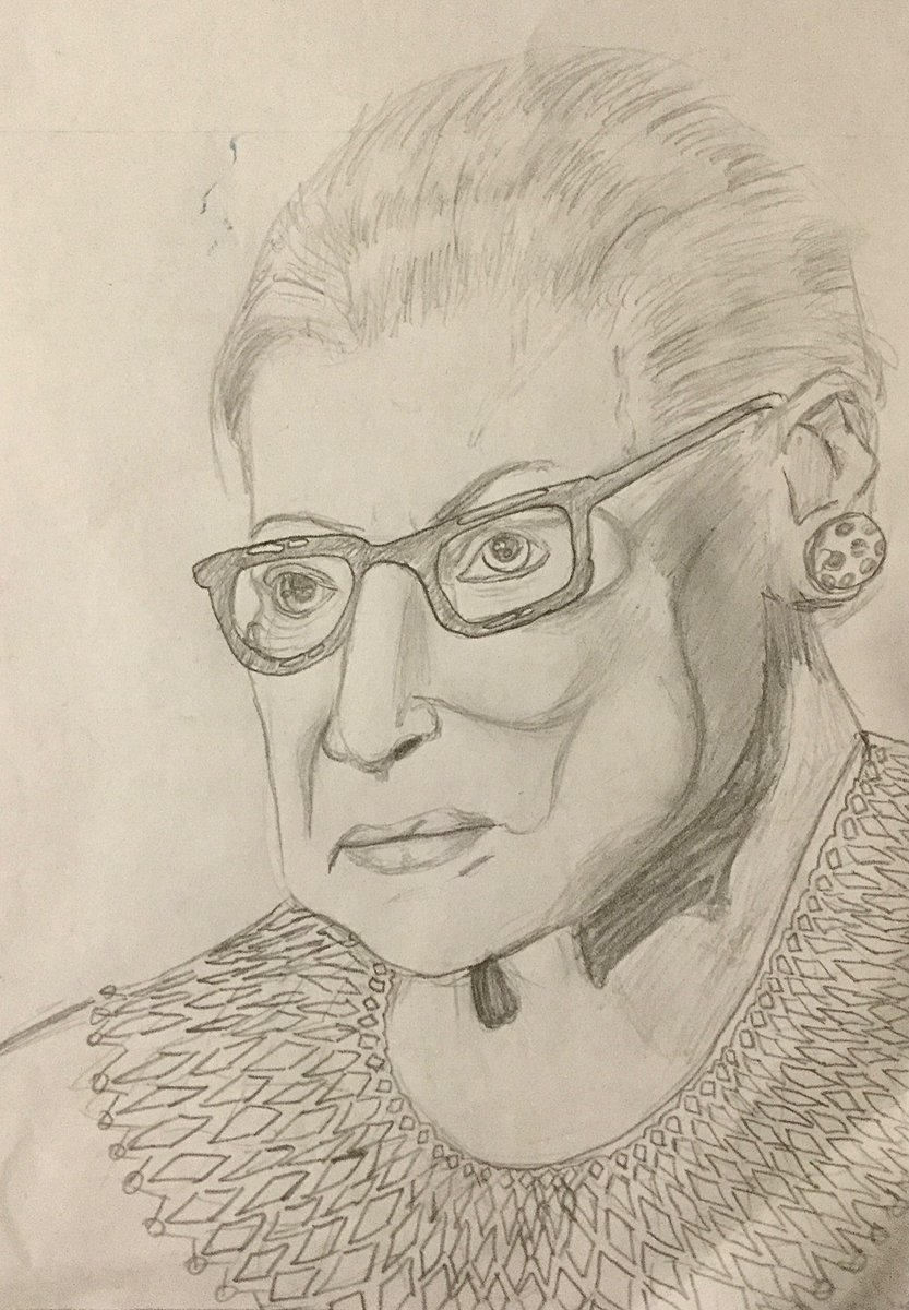 A moment of solemnity for RBG, a true tzadik. She inspired the world and hearing news of her death I felt compelled to do this. I dont really make realistic portraits but she deserves it. She deserved everything. #RuthBaderGinsburg #NotoriousRBG