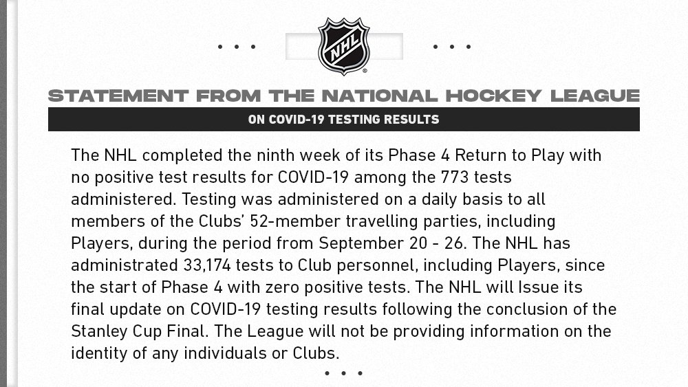 NHL statement on COVID-19 testing results: https://t.co/wlAAx5kSNq