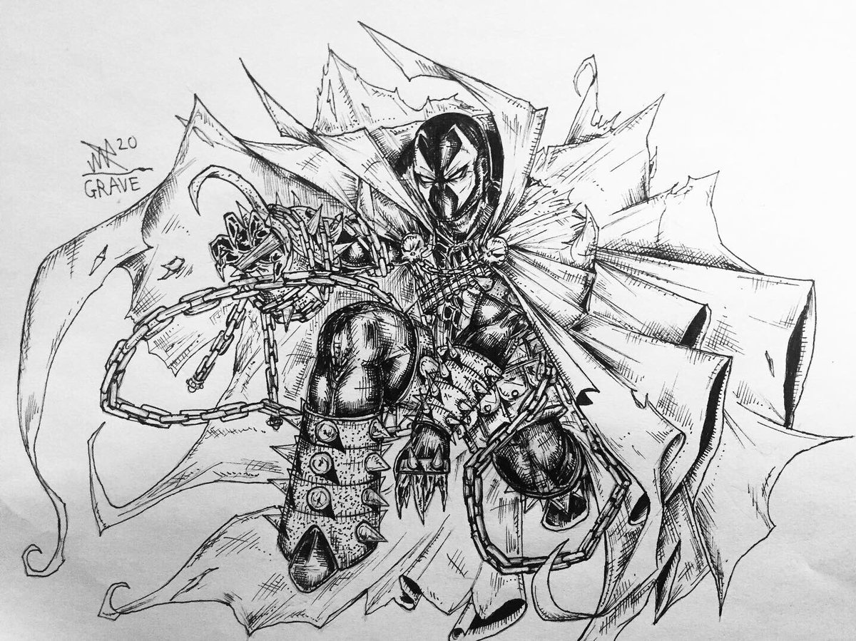 Spawn drawing. #comics #ink #doodle #art #details #spawn #imagecomics #lineart #drawing #hyperdetailed #MortalKombat11 #gaming #SOULCALIBUR https://t.co/LCoXxlQThP