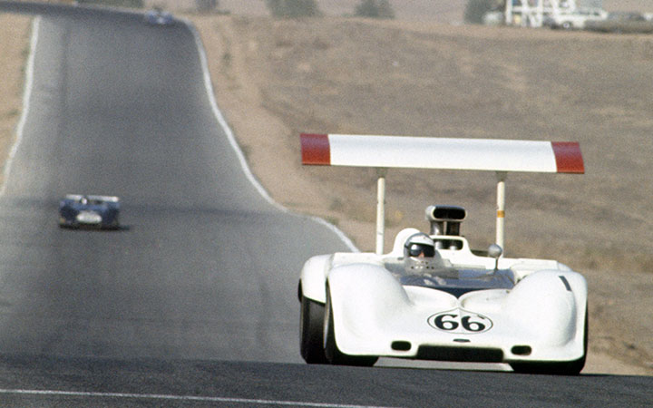 STAND ON IT MONDAY. Riverside International Raceway, October 27, 1968. Jim Hall (No. 66 Chaparral 2E Chevrolet) on his way to third in the Can-Am behind Bruce McLaren (No. 4 Gulf McLaren M8A Chevrolet) and Mark Donohue (No. 6  Sunoco McLaren M6B Chevrolet). https://t.co/nMyORBMhOW
