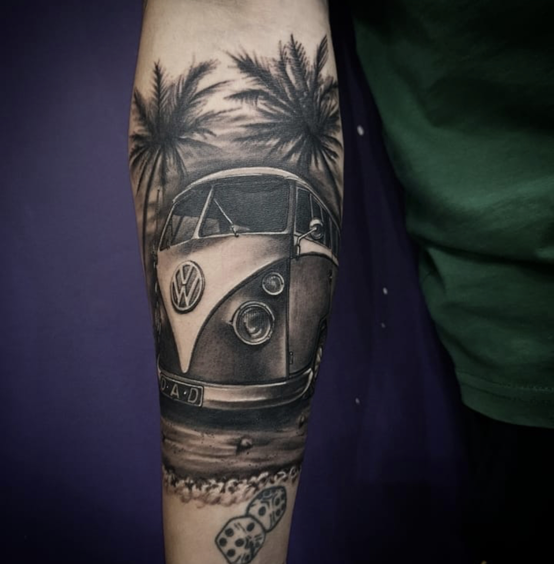 VW Camper done by @pellz_tattoos    • • • • • #emeraldtattoocompany #emeraldtattoo #talbotgreen #pontyclun #cardiff #rct #southwales #vwcamper #vwcampervan  #campervantattoo #vwcampervantattoo #blackandgreytattoo #tattoodesign #tattooart #tattoo #tattoos #ink #inked https://t.co/GaHgzNvD3u
