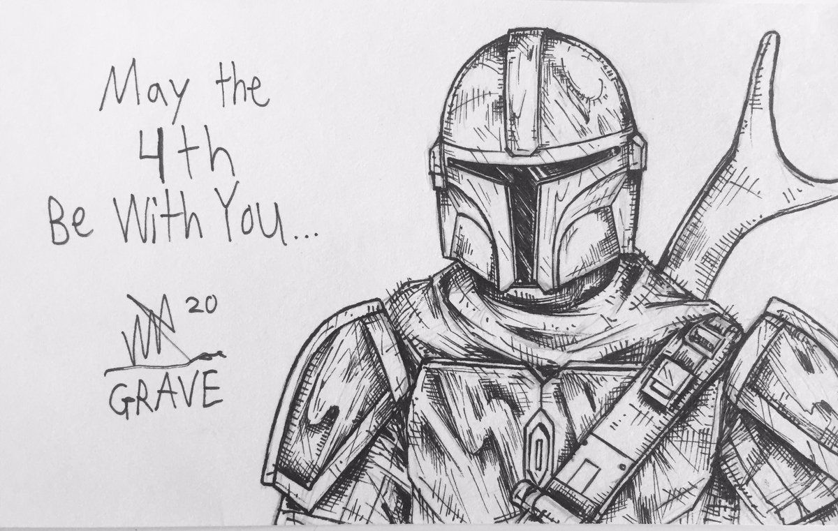 Mandolorian drawing I did for May the 4th. #mandolorian #mando #art #lineart #starwars #disneyplus #themandolorian #starwarsart #comics #ink #maythe4th https://t.co/RqcD00fyBv