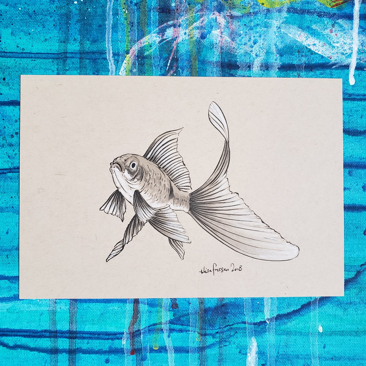 "I'm letting go of old art via auction.  Today's thing is this 6 x 8.5"" toned paper goldfish! #tonedpaper #ink #goldfish #elisashigehiro #elisashigehiroart #LettingGo #ArtAuction https://t.co/qcUFCxjXtw"