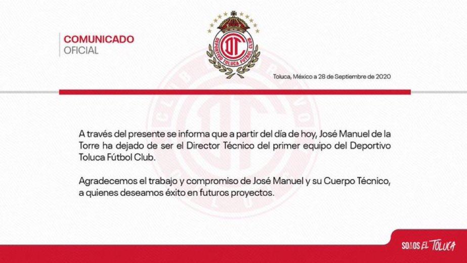 """""""José Manuel de la Torre"""": Porque ya no será el DT del @TolucaFC. https://t.co/LbmibBxuXD"""