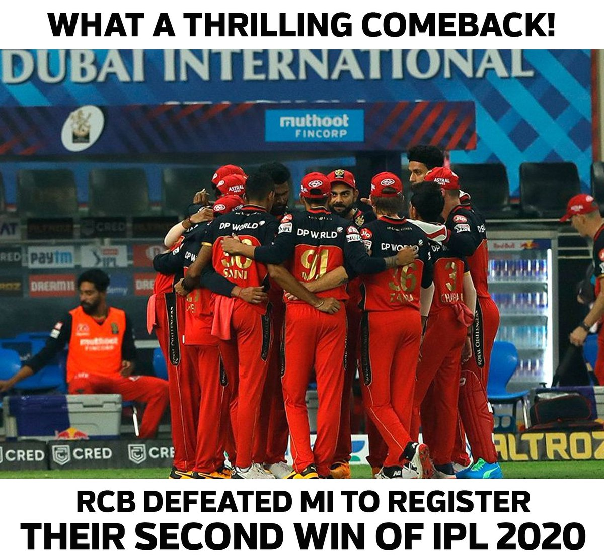 @imVkohli @RCBTweets RCB defeated MI in the super over to register their second  win of the IPL 2020. Amazing  two finest cricket matches in a row ever in world cricket #Yesterday #Today   fantastic game by both teams. This is the beauty of circket #RCB #MI #Dream11IPL  @imVkohli @ImRo45 https://t.co/eR9HuFB1yr