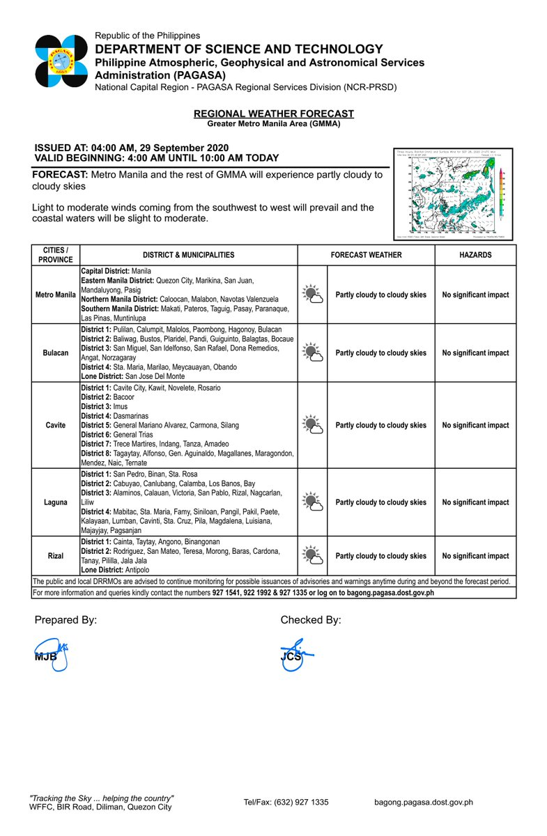 REGIONAL WEATHER FORECAST for GREATER METRO MANILA AREA (GMMA) #NCR_PRSD Issued at: 4:00 AM, 29 September 2020 Valid Beginning: 4:00 AM - 10:00 AM today  https://t.co/fiReKiBwYN https://t.co/XjrZVv2if9
