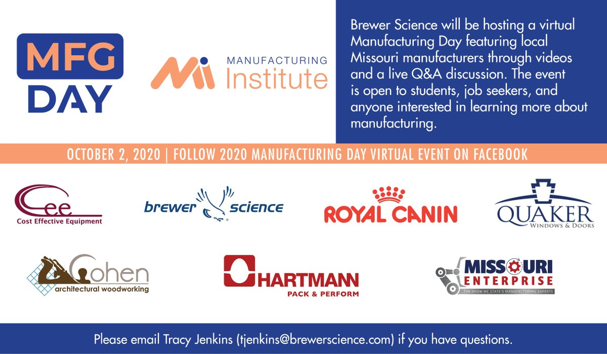 test Twitter Media - Brewer Science will be hosting a virtual Manufacturing Day featuring local Missouri manufacturers this Friday, October 2. Updates can be found on our Manufacturing Day event page (https://t.co/yf66ddmiKB) #MFGDay20 https://t.co/2toySCG9ay