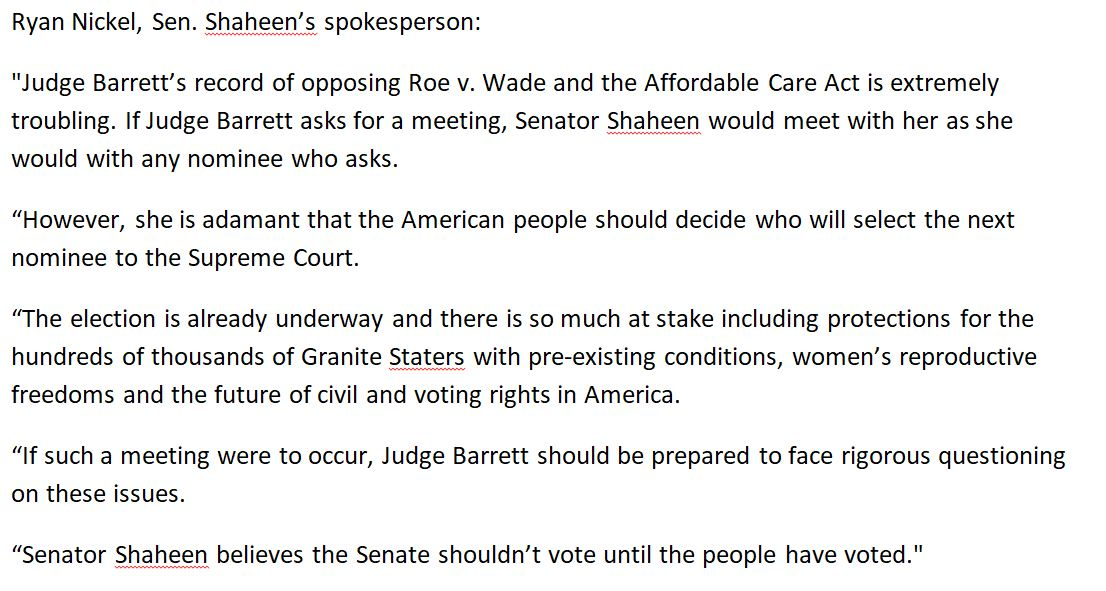 """Just in: @SenatorShaheen says via spox she will meet with Judge Amy Coney Barrett if asked, but says Barrett's record """"opposing Roe V. Wade & ACA is extremely troubling."""" Spox says Shaheen would engage in """"rigorous questioning"""" of the judge. More below. #nhsen #nhpolitics #WMUR https://t.co/XgXA7Rqqol"""