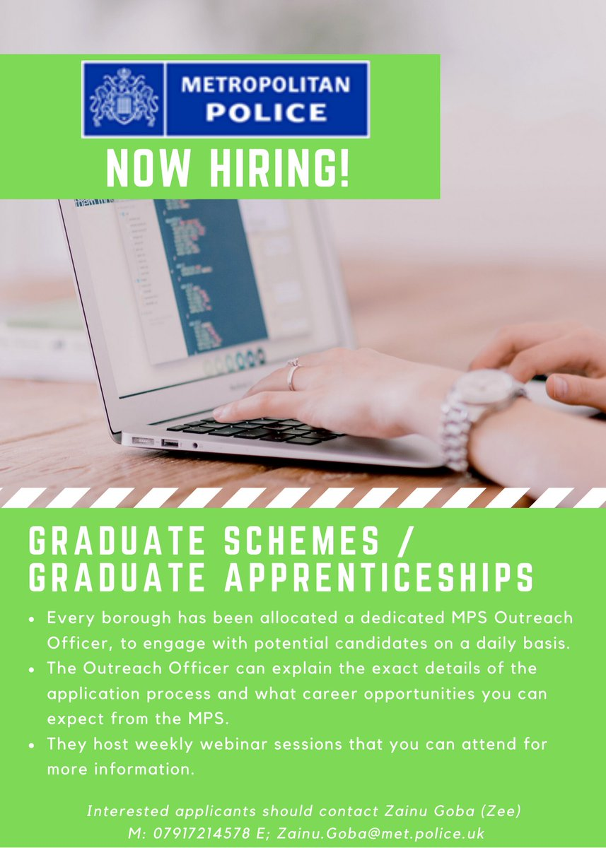 The @metpoliceuk are now #hiring for their #graduate schemes & graduate #apprenticeships!  They are hosting weekly #webinars too, so if you live in #Newham or #WalthamForest, please speak to Zee for more info!  #police #metpolice #employment #career #university #apprenticeships https://t.co/djZtXzUY7j