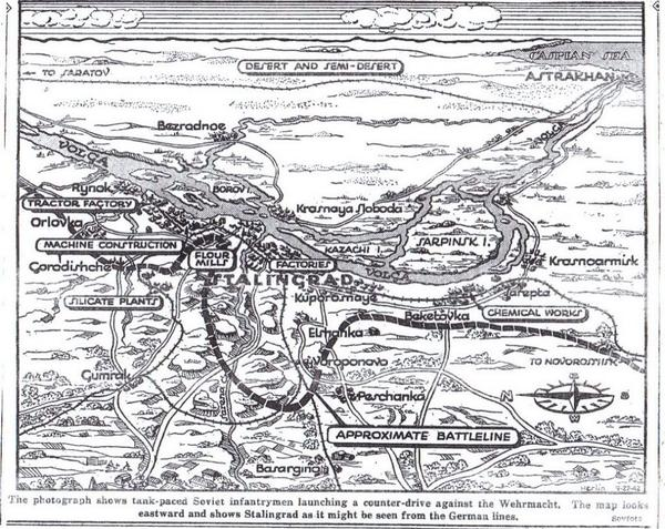 Red Army have lost more ground in Stalingrad; New York Times map shows battle for city (but underestimates German gains- they have now reached the Volga river-bank): https://t.co/HbhbZqrJSa