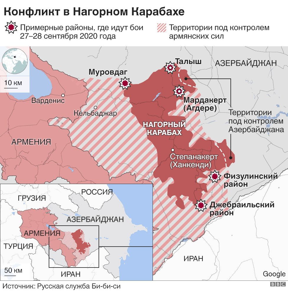 Karabakh theater of war map as of today. It is really hard to map fighting as there is very little verified info and some data are intentionally suppressed. But this is wha we've figured, cross-checking both sides' official statements and talking to our sources. @bbcrussian https://t.co/z8C6wVJRis