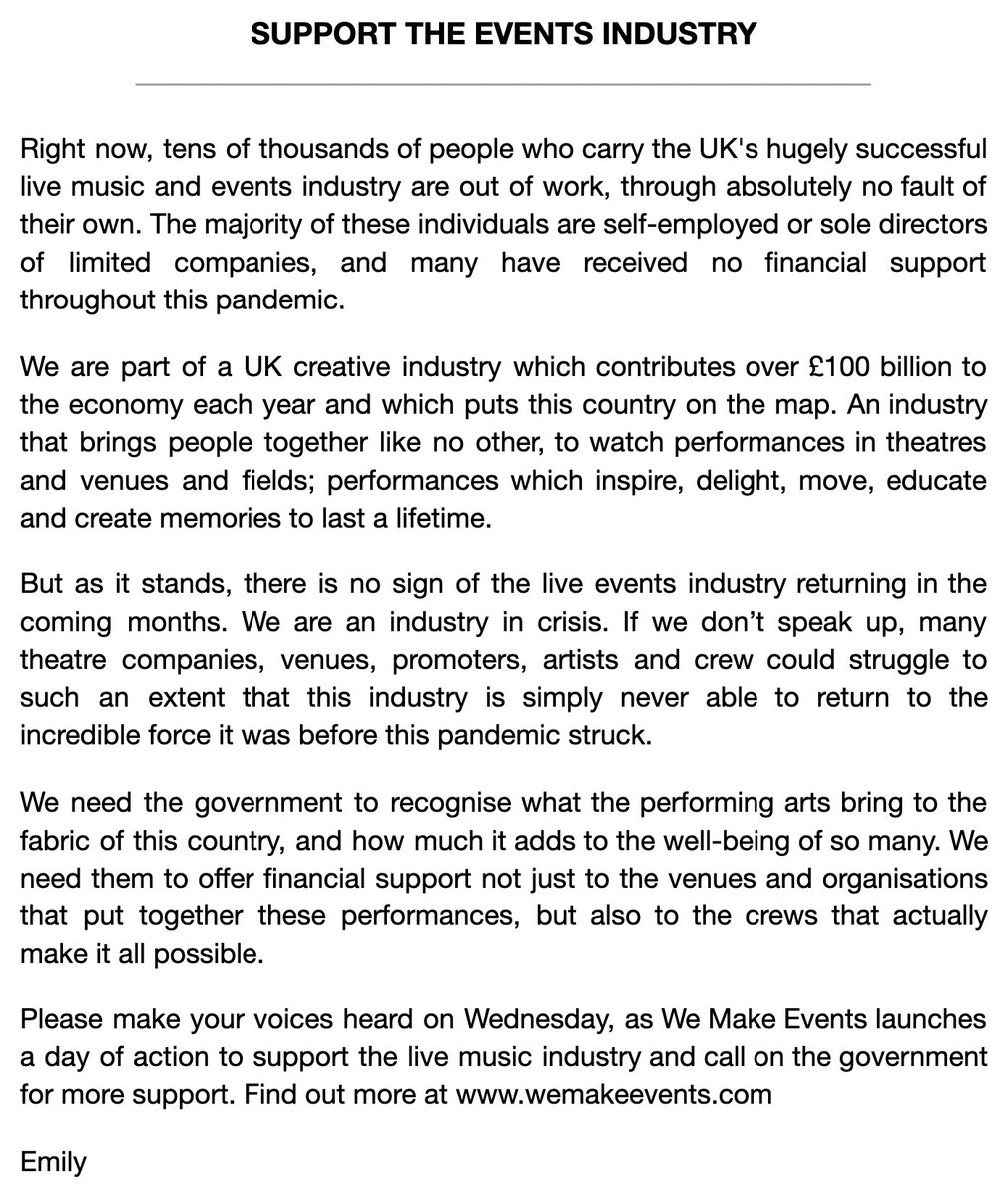 Emily Eavis said it perfectly below. The live music and events industry has been devastated. We urge the UK government to support all crew and staff who have lost their livelihoods. Love c, g, w, j & p #WeMakeEvents