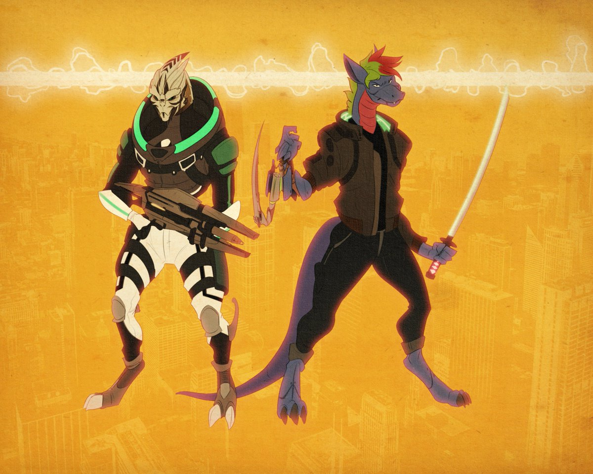 """「CYBER-CHAOS」: """"CYBERPUNK 2076""""  Promo made for @WelshDrag I really hope you like it!  My promos ends this Wednesday!! so check out my stuff!  #furry #artwork #comission #design #illustration #MassEffect #turian #alien #dragon #blade #cyberpunk2077 #cyborg https://t.co/GL66IivTJw"""