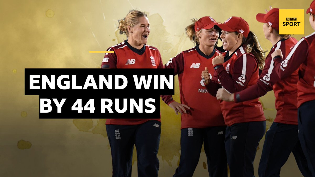 England win by 44 runs and lead the series 4-0 👏 A wicket on the last ball means the West Indies end 122-9 LIVE reaction: 📱 Follow 👉 bbc.in/3ja7YEh 📻 Listen 👉 bbc.in/3chkaAe #bbccricket #ENGvWI #WomensCricketMonth