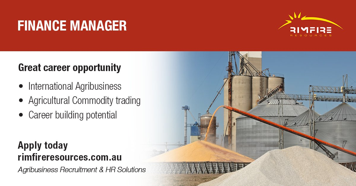 True career role for finance manager with global agricultural commodity trading organisation. Apply today: https://t.co/wZJSQywkBU  #finance #manager #commodities #international #agribusiness #agriculture #jobs #hiring #rimfireresources https://t.co/mr19lLApY1