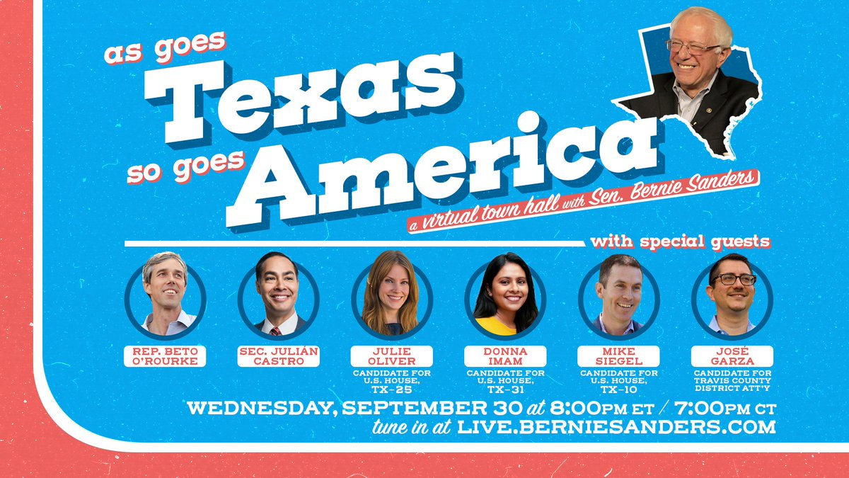 Join me, @BetoORourke, @JulianCastro and more for a virtual town hall Wednesday on how we can build grassroots energy to win Texas and elect progressive candidates across the state. Tune in Wednesday at https://t.co/vreIiWfeoS. https://t.co/CVhBvJTe36
