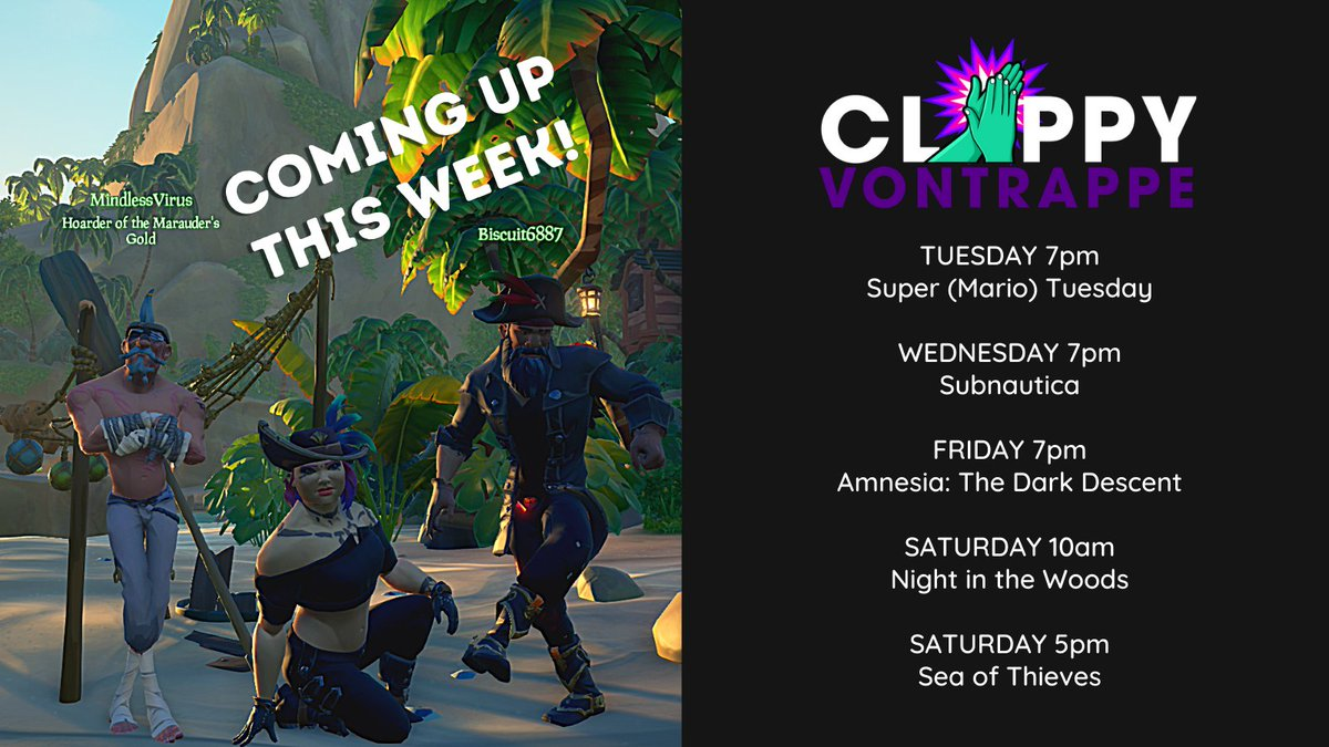 Great schedule coming up this week on the channel! Hope you guys can stop by 😁  Catch it all on https://t.co/5iU29ICK0p  #twitch #twitchaffiliate #Mario #SuperMario3DAllStars #SeaOfThieves #Subnautica https://t.co/Dfbji2yBW1