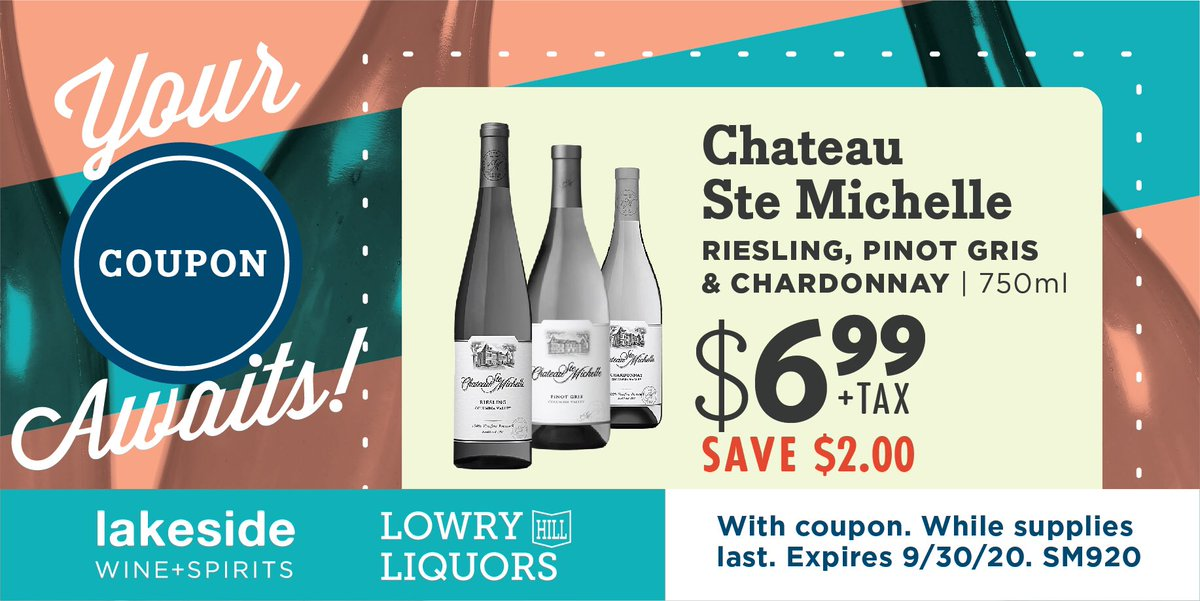 Save $2.00 on @chateaustemichelle Riesling, Pinot Gris and Chardonnay 750ml bottles until the end of September with this coupon! #chateaustemichelle #riesling #pinotgris #chardonnay #whitewine #sale #September #cheers https://t.co/DZpQnQ6wmk
