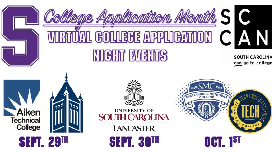 #SENIORS: Five colleges/universities will be hosting #CAM2020 events this week. These events begin at 7pm, and Dr. Vacchio has your password into each one of them. Contact him ASAP if you're interested in tuning in. #SHSTigerPride #OneSaluda #AikenTech #Lander #USCL #SMC #FDTC https://t.co/WNRQnMeVFj
