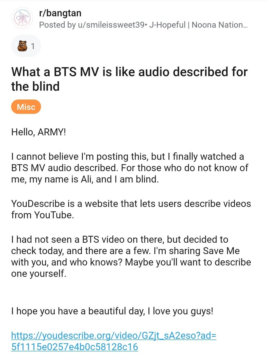 Omg you guys reddit armys are helping this blind army watch BTS MVs by recording descriptions on youdescribe.org for them!! My heart is omg. 💜🤧 reddit.com/r/bangtan/comm…