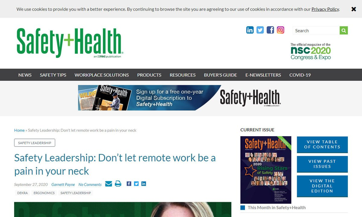 Safety Leadership: Don't let remote work be a pain in your neck - Safety+Health magazine #laptops #pain #laptop #chest #work #remotework via https://t.co/W4LFNitAcz ☛ https://t.co/h06kgEW8IV https://t.co/c0eLyvi20m