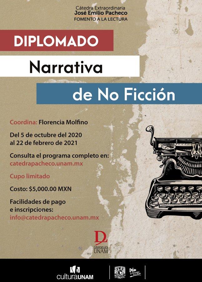 """¿Te gustaría pulir tu escritura? El Diplomado """"Narrativa de No Ficción"""" te dará herramientas para mejorar en periodismo narrativo, novela sin ficción, biografía, autoficción y ensayo. +info📝https://t.co/jop9XLnphf @CatedraCFuentes @LiteraturaUNAM @ValeriaLuiselli @MaelVallejo https://t.co/rAj3Sgo2K5"""
