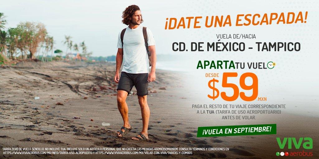 ¡Date una escapada a Tampico desde Ciudad de México! 😉✈️ Aparta tu vuelo en septiembre desde $59 pesos y difiere el resto correspondiente a la TUA, pagándolo cuando más te convenga, compra aquí. 👉 https://t.co/G4Q43nBT2x https://t.co/YSVfnRALDT